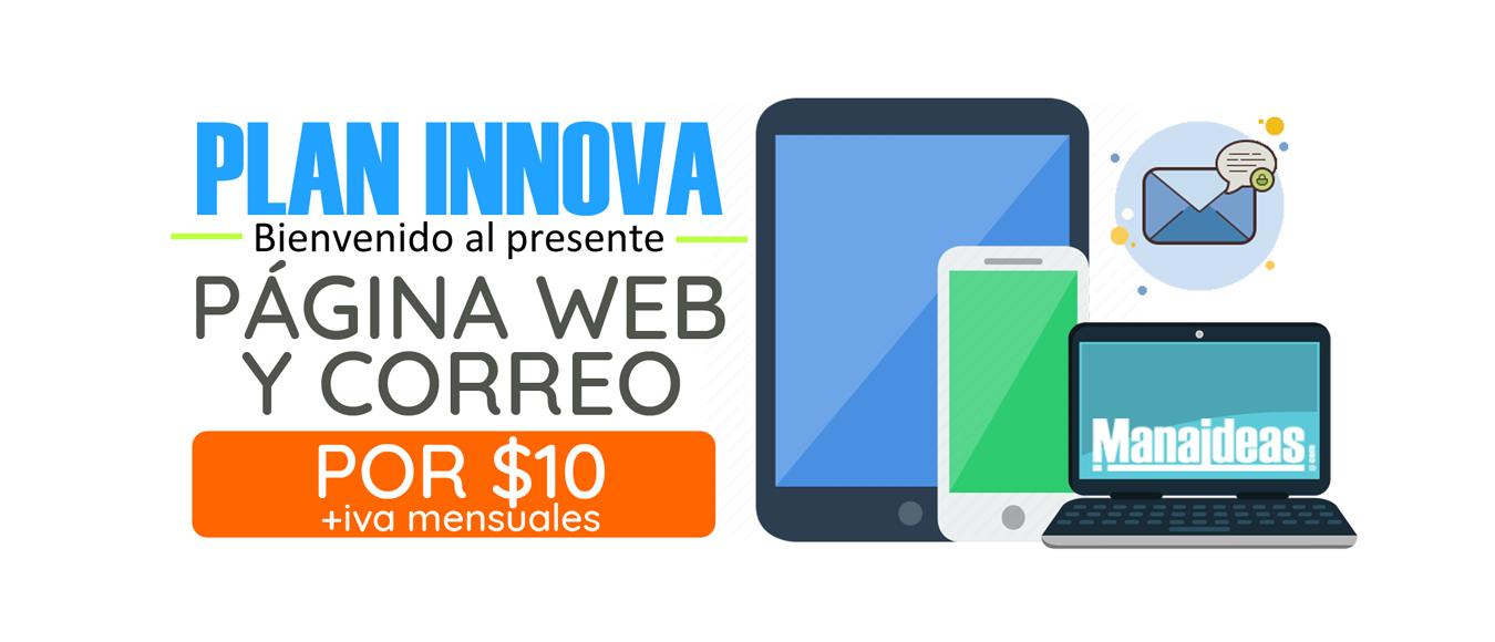 Plan innova pagina web por $10 mensulaes